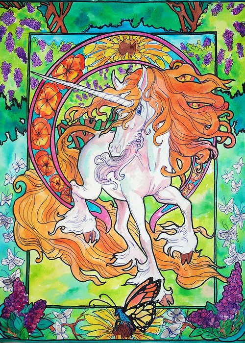 Unicorn Greeting Card featuring the painting Art Nuevo Unicorn by Jenn Cunningham