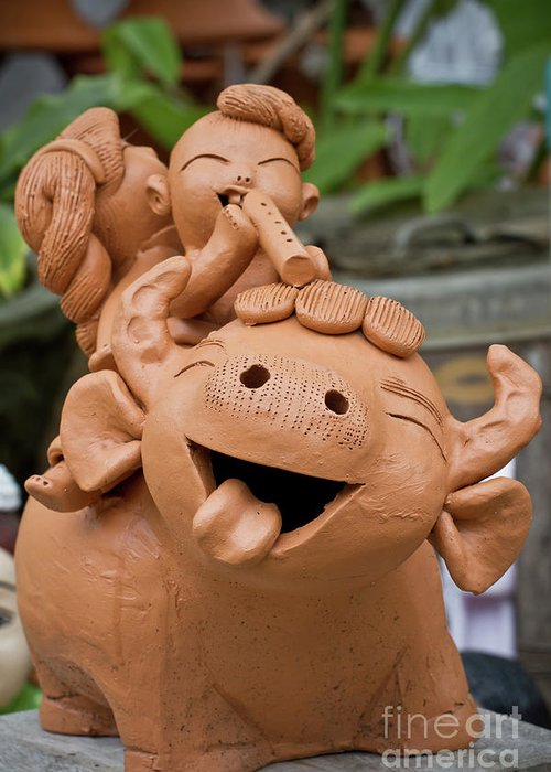 Ancient Greeting Card featuring the sculpture Art Of Pottery Making.  by Thakoengphon Sakkakit