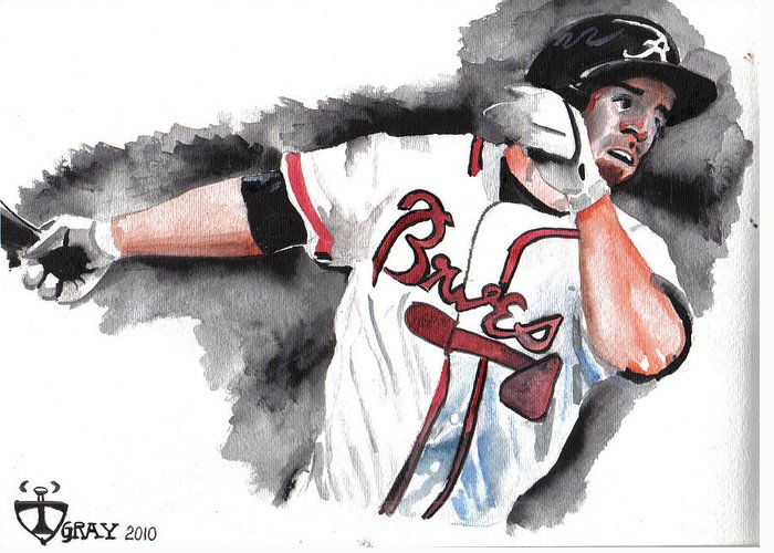 Watercolor Art Greeting Card featuring the painting Art Of The Braves by Torben Gray