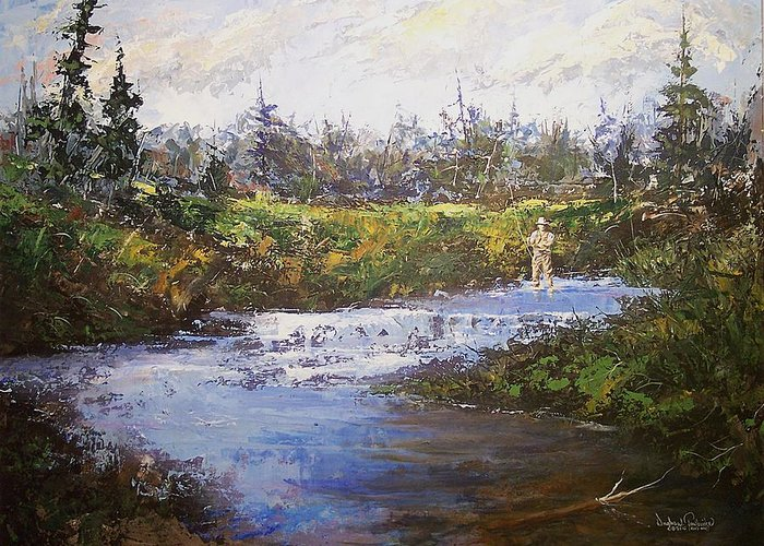 Fly Fishing Greeting Card featuring the painting Art Of The Fly by Douglas Trowbridge