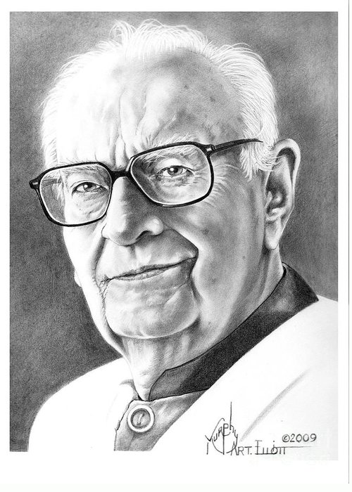 Portrait Greeting Card featuring the drawing Arthur C. Clarke by Murphy Elliott