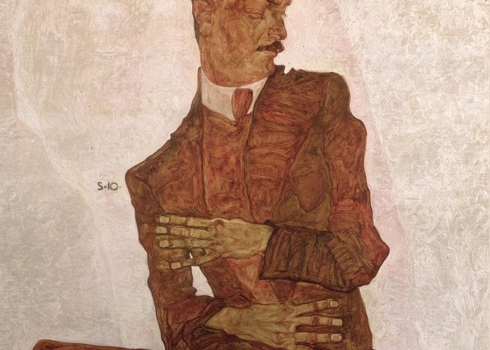 Arthur Roessler Greeting Card featuring the painting Arthur Roessler by Egon Schiele