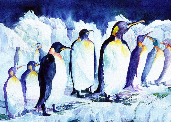Penquins Greeting Card featuring the painting Arctic Penquins by Connie Williams