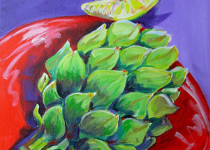 Artichoke Greeting Card featuring the painting Artichoke And Lemon by Pam Van Londen