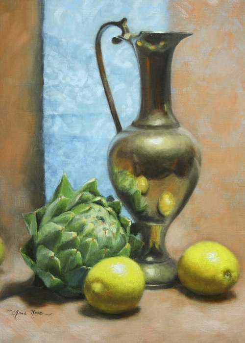 Still Life Greeting Card featuring the painting Artichoke And Lemons by Anna Rose Bain