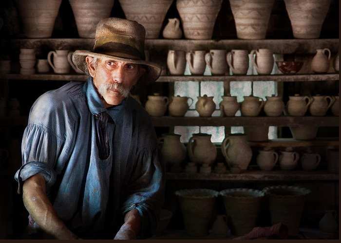 Hdr Greeting Card featuring the photograph Artist - Potter - The Potter II by Mike Savad