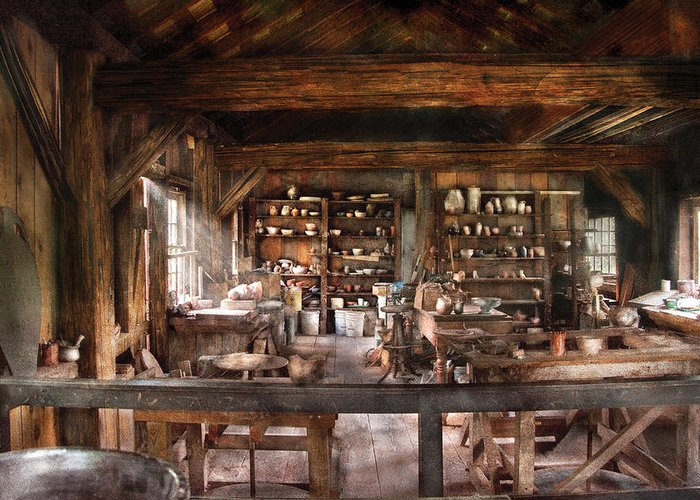 Savad Greeting Card featuring the photograph Artist - Potter - The Potters Shop by Mike Savad