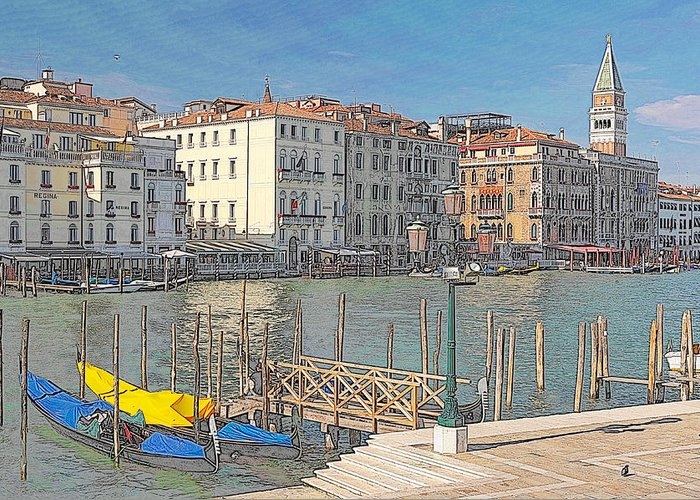 Europe Greeting Card featuring the digital art Artist Impression Of Venice by Johan Elzenga