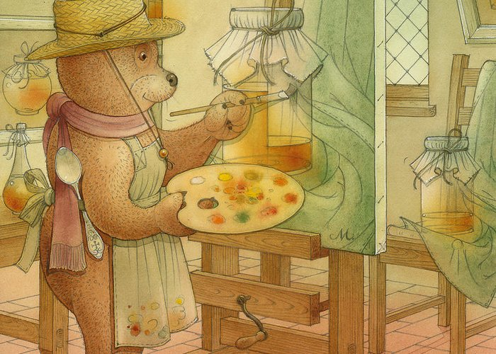 Artist Painting Bear Animals Honey Still-life Greeting Card featuring the painting Artist by Kestutis Kasparavicius