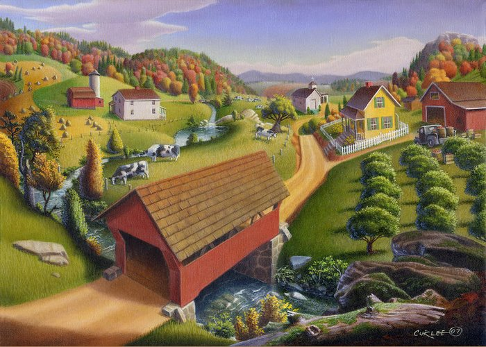 Covered Bridge Greeting Card featuring the painting Folk Art Covered Bridge Appalachian Country Farm Summer Landscape - Appalachia - Rural Americana by Walt Curlee