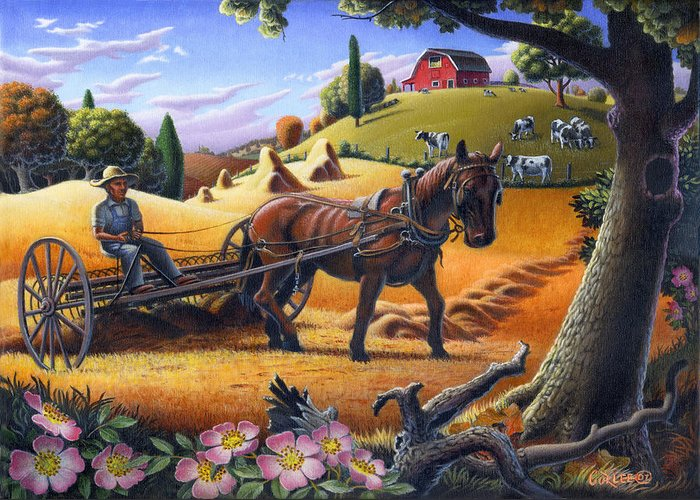 Raking Hay Greeting Card featuring the painting Raking Hay Field Rustic Country Farm Folk Art Landscape by Walt Curlee