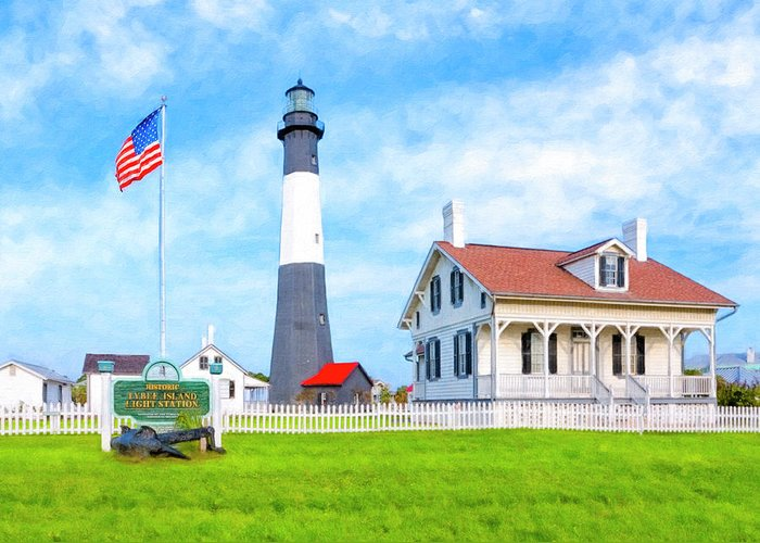 Tybee Greeting Card featuring the photograph Historic Tybee Island Light Station by Mark E Tisdale