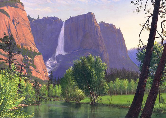 Waterfall Greeting Card featuring the painting Mountains Waterfall Stream Western Mountain Landscape Oil Painting by Walt Curlee