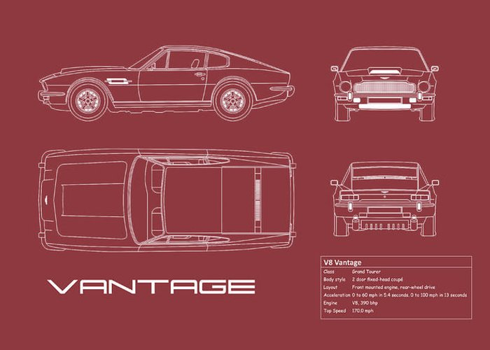Aston Martin V8 Vantage Greeting Card featuring the photograph Aston Martin V8 Vantage Blueprint - Red by Mark Rogan