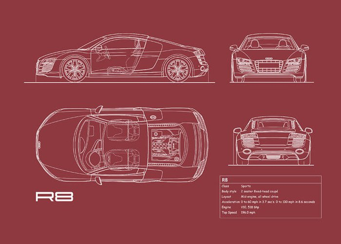 Audi R8 Greeting Card featuring the photograph Audi R8 Blueprint - Red by Mark Rogan