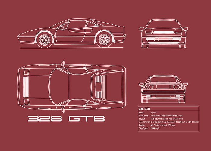 Ferrari Greeting Card featuring the photograph Ferrari 328 Gtb Blueprint - Red by Mark Rogan
