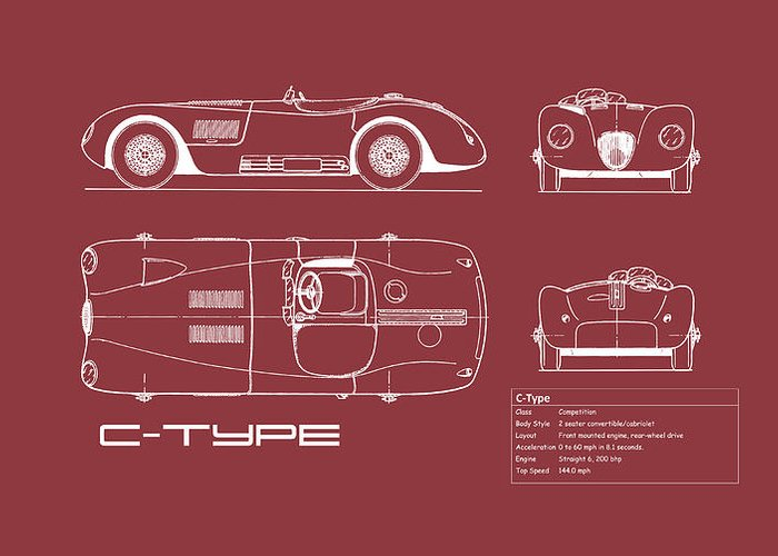 Jaguar C-type Greeting Card featuring the photograph Jaguar C-type Blueprint - Red by Mark Rogan