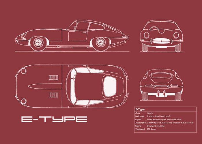 Jaguar E-type Greeting Card featuring the photograph Jaguar E Type Blueprint - Red by Mark Rogan