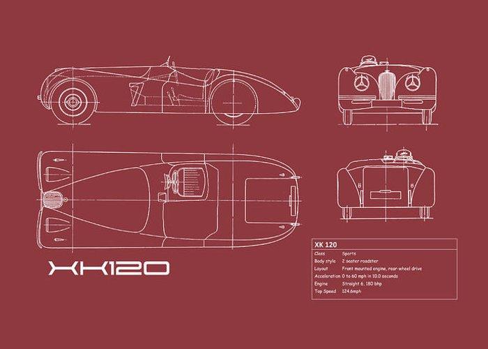 Jaguar Xk120 Greeting Card featuring the photograph Jaguar Xk 120 Blueprint - Red by Mark Rogan