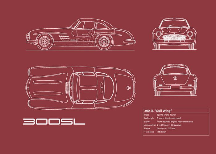 Mercedes Greeting Card featuring the photograph Mercedes 300 Sl Blueprint - Red by Mark Rogan