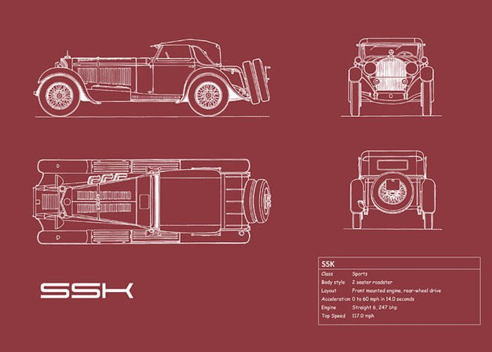 Mercedes Greeting Card featuring the photograph Mercedes Ssk Blueprint - Red by Mark Rogan