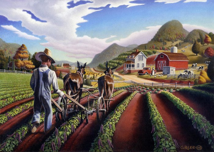 Appalachian Greeting Card featuring the painting Appalachian Folk Art Summer Farmer Cultivating Peas Farm Farming Landscape Appalachia Americana by Walt Curlee