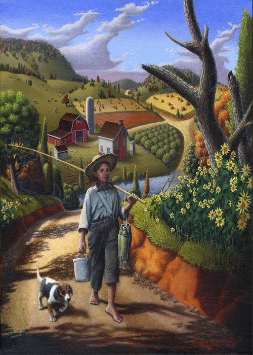 Boy And Dog Greeting Card featuring the painting Boy And Dog Farm Landscape - Flashback - Childhood Memories - Americana - Painting - Walt Curlee by Walt Curlee