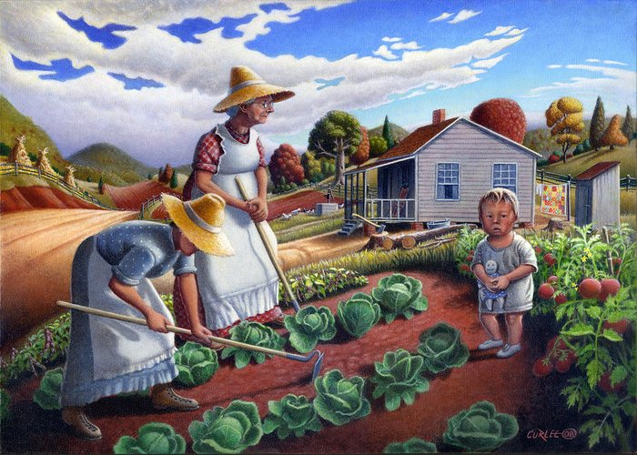 Farm Family Greeting Card featuring the painting Family Vegetable Garden Farm Landscape - Gardening - Childhood Memories - Flashback - Homestead by Walt Curlee