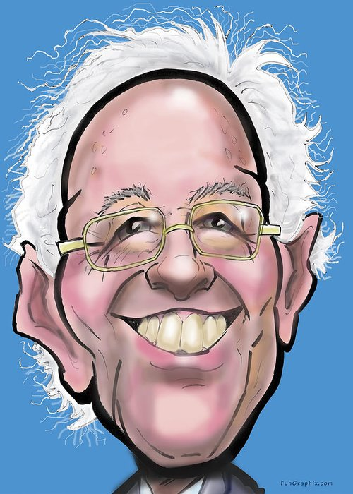 Bernie Greeting Card featuring the digital art Bernie Sanders by Kevin Middleton