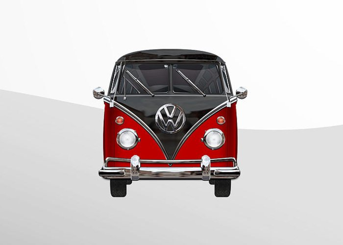 'volkswagen Type 2' Collection By Serge Averbukh Greeting Card featuring the photograph Volkswagen Type 2 - Red And Black Volkswagen T 1 Samba Bus On White by Serge Averbukh