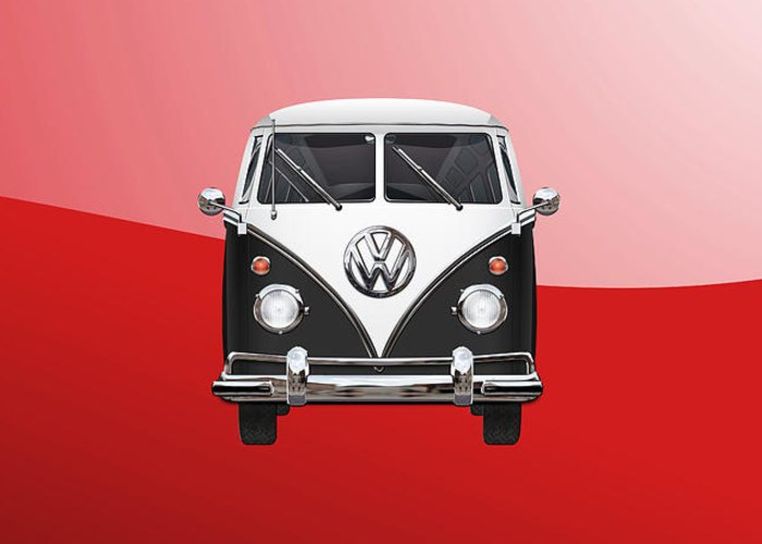 'volkswagen Type 2' Collection By Serge Averbukh Greeting Card featuring the photograph Volkswagen Type 2 - Black And White Volkswagen T 1 Samba Bus On Red by Serge Averbukh