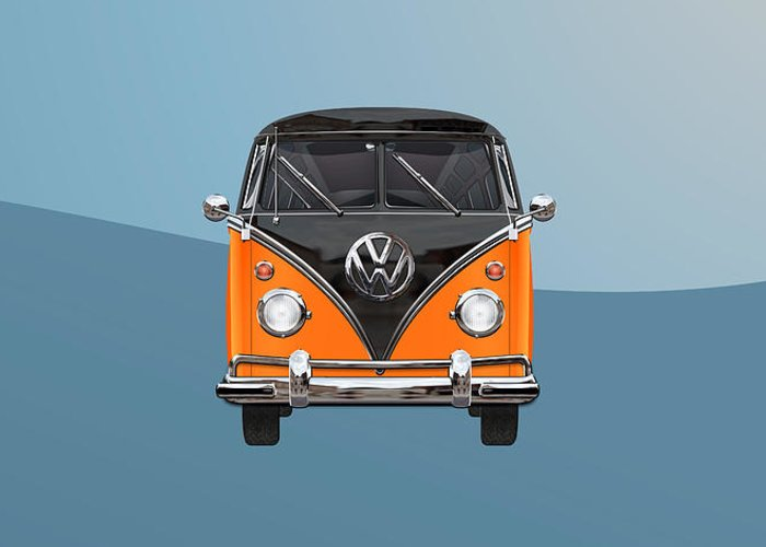 'volkswagen Type 2' Collection By Serge Averbukh Greeting Card featuring the photograph Volkswagen Type 2 - Black and Orange Volkswagen T 1 Samba Bus over Blue by Serge Averbukh