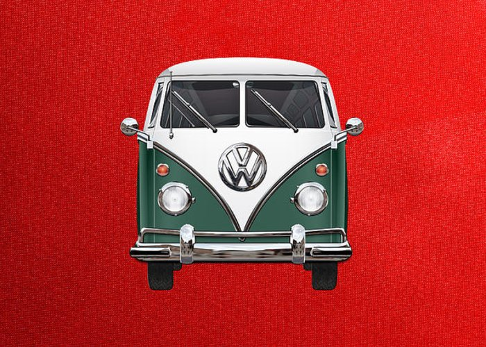 'volkswagen Type 2' Collection By Serge Averbukh Greeting Card featuring the photograph Volkswagen Type 2 - Green and White Volkswagen T 1 Samba Bus over Red Canvas by Serge Averbukh