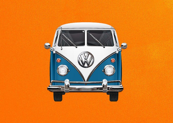 'volkswagen Type 2' Collection By Serge Averbukh Greeting Card featuring the photograph Volkswagen Type 2 - Blue and White Volkswagen T 1 Samba Bus over Orange Canvas by Serge Averbukh