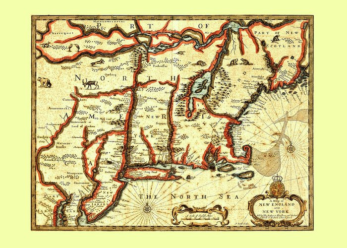 New York Greeting Card featuring the photograph Map Of New England And New York 1676 by Mark Rogan