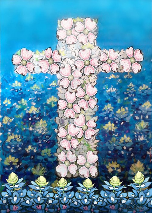 Religious Greeting Card featuring the digital art Cross Of Flowers by Kevin Middleton