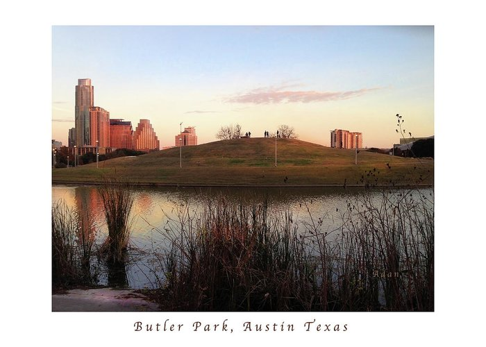 Butler Park Austin Texas Greeting Card featuring the photograph Birds And Fun At Butler Park Austin - Silhouettes 1 Poster And Greeting Card by Felipe Adan Lerma