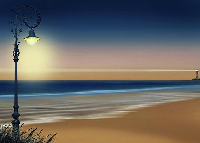 Lamp Greeting Card featuring the digital art Beach And Coastal Lighting by Monika Juengling