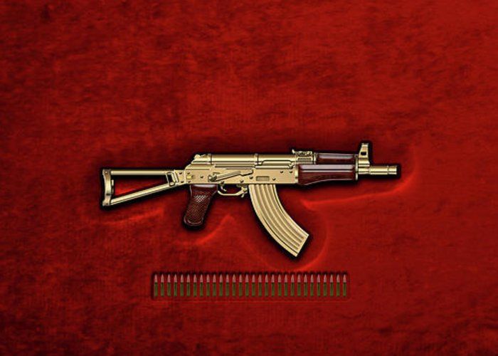'the Armory' Collection By Serge Averbukh Greeting Card featuring the photograph Gold A K S-74 U Assault Rifle With 5.45x39 Rounds Over Red Velvet  by Serge Averbukh