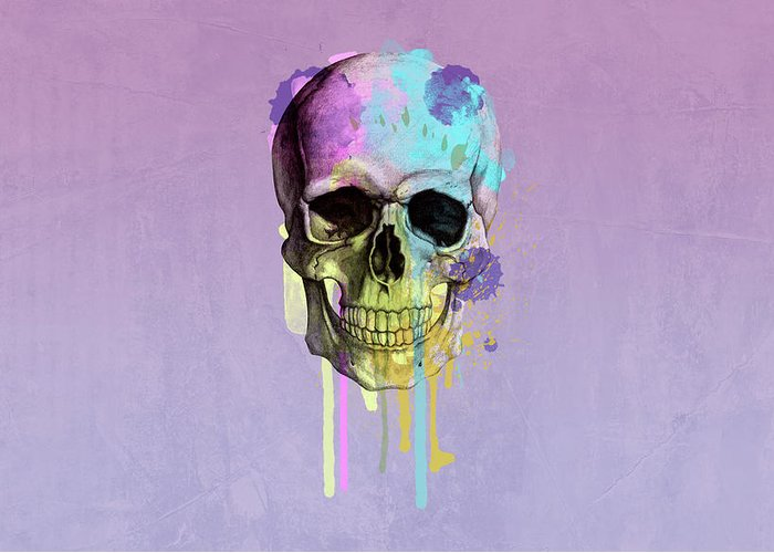 Scary Greeting Card featuring the digital art Skull 6 by Mark Ashkenazi