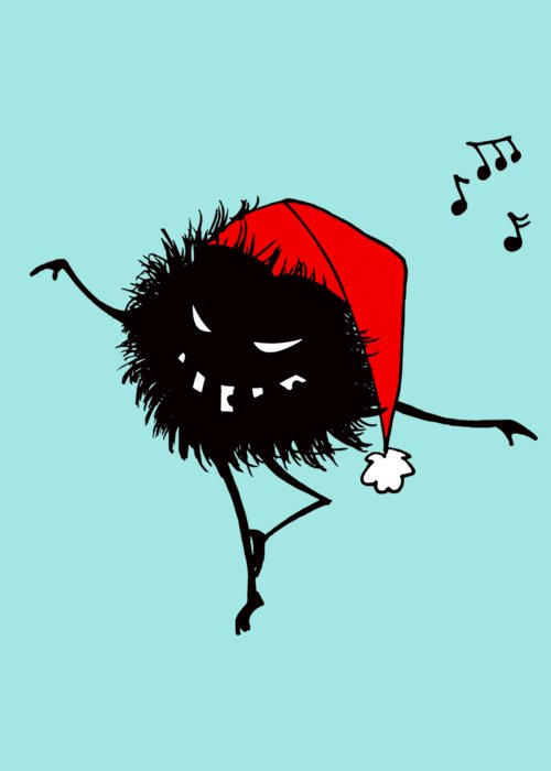 Bug Greeting Card featuring the digital art Singing And Dancing Evil Christmas Bug by Boriana Giormova