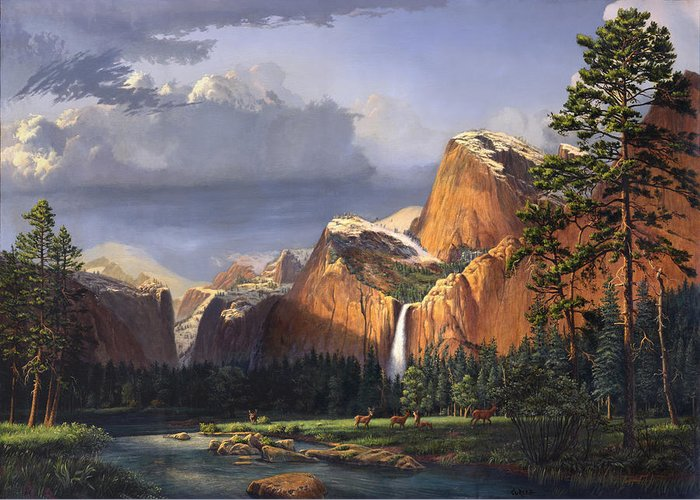 American Greeting Card featuring the painting Deer Meadow Mountains Western Stream Deer Waterfall Landscape Oil Painting Stormy Sky Snow Scene by Walt Curlee