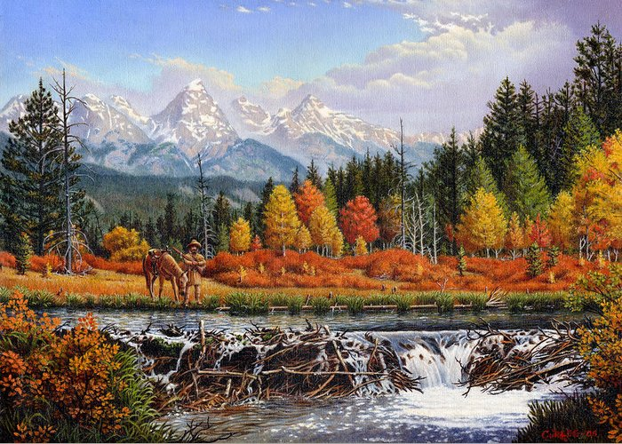 Western Mountain Landscape Greeting Card featuring the painting Western Mountain Landscape Autumn Mountain Man Trapper Beaver Dam Frontier Americana Oil Painting by Walt Curlee