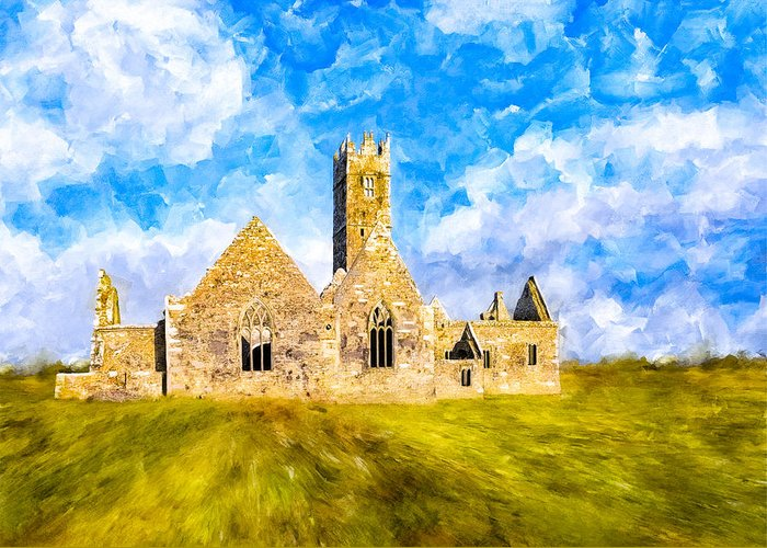 Galway Greeting Card featuring the mixed media Irish Monastic Ruins Of Ross Errilly Friary by Mark E Tisdale