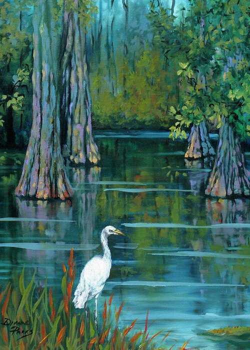 Louisiana Bayou Greeting Card featuring the painting The Fisherman by Dianne Parks