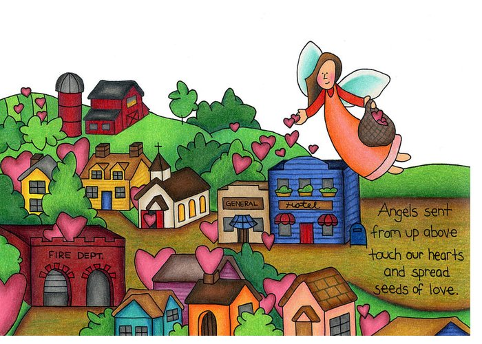 Small Towns Drawings Greeting Cards