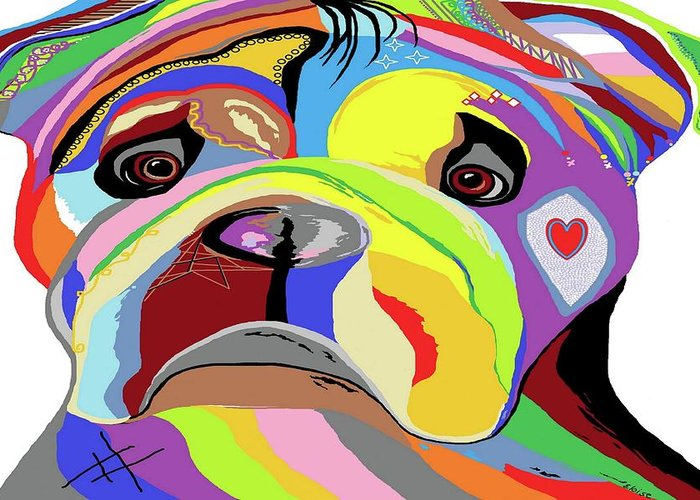 Bulldog Greeting Card featuring the painting Bulldog by Eloise Schneider