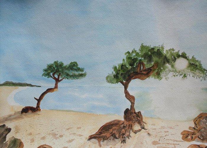 Aruba Greeting Card featuring the painting Aruba Sunrise by Warren Thompson