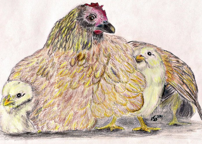 Chickens Greeting Card featuring the drawing As A Hen Gathereth Her Chickens Under Her Wings by Marqueta Graham