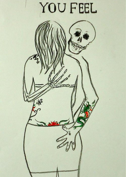 Tattoo Greeting Card featuring the drawing As Old As You Feel by Pete Maier